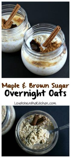 Maple and Brown Sugar Overnight Oats- A simple healthy and delicious recipe that takes only minutes to prepare. The perfect make-ahead breakfast!