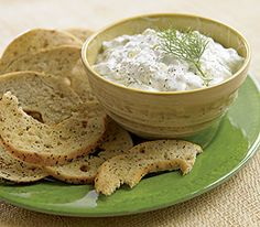 Bagel Chips with Cucumber Yogurt Dip (great as a veggie dip) - store in fridge a few hours before serving to allow ingredients to blend.