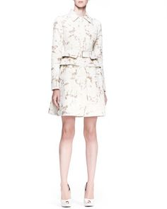 Pleated-Back Coat Dress, Cream/Sand by Alexander McQueen at Neiman Marcus.