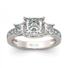 Jeulia Three Stone Princess Cut Created White Sapphire Engagement Ring