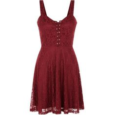 Burgundy Lace Eyelet Lattice Front Skater Dress ($26) ❤ liked on Polyvore featuring dresses, short dresses, red, burgundy, short lace dress, red dress, lace dress and lace mini dress