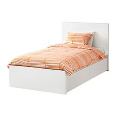 IKEA - MALM, High bed frame/2 storage boxes, Luröy, , The 2 large drawers on casters give you an extra storage space under the bed.Adjustable bed sides allow you to use mattresses of different thicknesses.16 slats of layer-glued birch adjust to your body weight and increase the suppleness of the mattress.