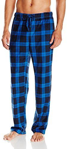 Nautica Men's Blue Plaid Suede Fleece Pajama Pant