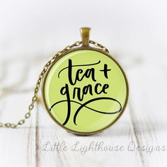 Tea + Grace  - Pendant bezel is 1.5 in diameter. - 34 vintage style chain with lobster clasp closure OR 34 ball chain style necklace with connector link. - Antiqued Bronze OR Silver finish.  Pendants and chains are composed of a nickel-free alloy.  **Longer/shorter necklaces are