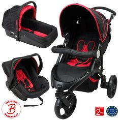 Poussette 3 roues combiné 3en1 - Noir, rouge - Neuve, dégriffée - Sélection bebeachat.com