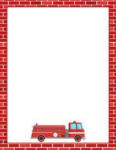 Printable fire truck border. Free GIF, JPG, PDF, and PNG downloads at http://pageborders.org/download/fire-truck-border/. EPS and AI versions are also available.