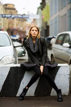 Chic street style on Elena Perminova in Moscow (via The Sartorialist).