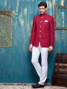 Shop Classy red terry rayon jodhpuri suit online from G3fashion India. Brand - G3, Product code - G3-MCO0037, Price - 8995, Color - Red, Fabric - Terry Rayon,