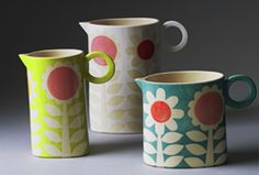 Brighton based potter Ken Eardley makes bright and breezy earthenware ceramics for the home, which express his love of pattern and colour - and we absolutely love them!  Each piece is hand-built using slabs of clay and then decorated using hand-cut stencils.  His textiles background is visible in the graphic range of his designs, featuring birds, flowers, polka dots and lovehearts in elegant patterns and vibrant on-trend colours.
