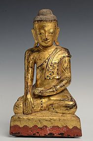 19th C., Mandalay, Burmese Wooden Seated Buddha
