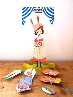 Dress up paper doll kit Miss Sadie mouse by JessQuinnSmallArt, £5.00