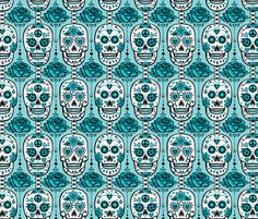 Turquoise Sugar Skulls fabric by lisakubenez on Spoonflower - custom fabric