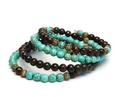 Layered Gemstone Memory Wire Bracelet - Magnesite and Bronzite Stone Bracelet - Turquoise and Brown Bracelet