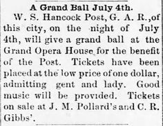 Grand Ball. Mexico Weekly Ledger of Mexico, Missour, on June 20, 1889 | Victorian America Celebrates Independence Day | KristinHolt.com