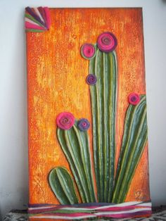 ARTE EN PAPEL: Marcos y Cuadros Cactus Painting, Cactus Art, Jar Art, Westerns, Winter Nail Art, Pictures To Paint, Art Tutorials, Flower Art, Canvas Wall Art