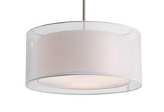 pendant with white drum shape transparent shades and linen interior white shades