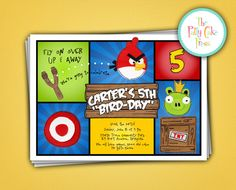 Angry Birds Birthday Party Invitation Boys Star Wars Angry Birds Kids Fifth Sixth iPhone Video Game