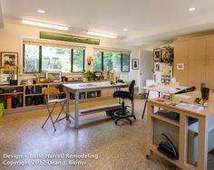 This Art Studio was a garage conversion in Palo Alto, now filled with natural light, storage, plenty of room for easels, drawing tables and shelving for handcrafted pottery or anything else a creative mind can think of.