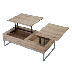 The lift-top storage coffee table provides a unique way to store your belongings. It has two solid mid-sections that open and lift to use as a computer or writing desk.