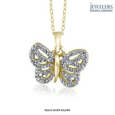 Flutter Away Genuine Diamond Accent Butterfly Pendant in Sterling Silver - Assorted Finishes