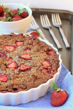 Fresh Strawberry Chia Baked Oatmeal Pie - healthy enough for breakfast! This recipe uses a little maple syrup (1 to 2 teaspoons per serving), but you can switch it up with stevia or xylitol if you like.
