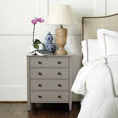 Sidney 4 Drawer Side Table-gray or white bedside table: $449 Ballard...find or paint one similarly