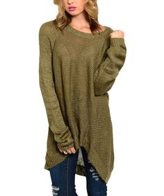 Look what I found on #zulily! Olive Hi-Low Tunic Sweater by The Wholesale Fashion Square #zulilyfinds