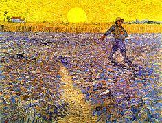 Vincent van Gogh The Sower, (after Millet), Kröller-Müller Museum, Otterlo Vincent Van Gogh, Art Van, Paul Gauguin, Art Soleil, Maurice Pialat, Van Gogh Arte, Van Gogh Pinturas, Van Gogh Paintings, Sunset Paintings