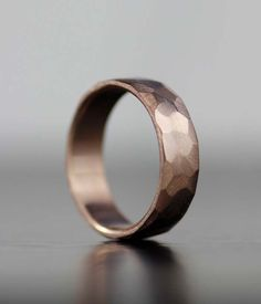 Faceted rustic rose gold wedding band from lolide via etsy. #weddingband #groomsring                                                                                                                                                                                 More