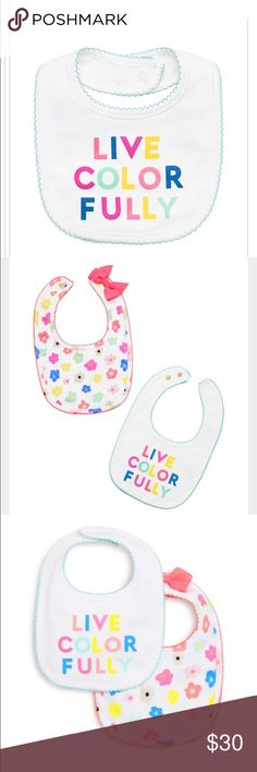 "Kate Spade Live Colorfully Bib Set New in box! Set of 2 bib set. One says ""live colorfully,"" and one is a floral print. Cotton/spandex kate spade Accessories Bibs"