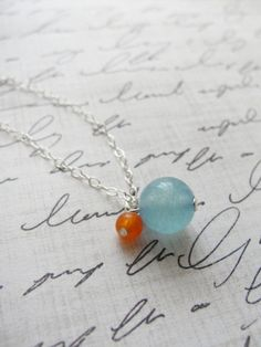 Orange and blue silver necklace  blue and orange by OliveYewJewels, $29.00