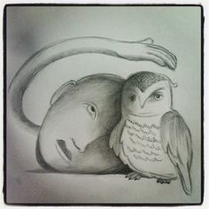 uil / owl... 'My bird... my love', drawing made by Ati van Twillert
