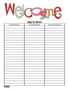 The Teacher's Ultimate Sign-In Sheet- PDF Version - FREE (Back to School, Open House and many more) --> good idea! I would also use this for a field trip sign out. My last field trip everyone left since we were late coming back. Maybe I'll get them to sign out their child if they make it there before me (which they will).: