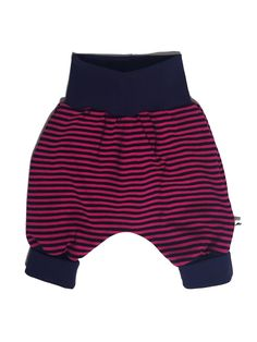 Baggy pants for newborn, baby and toddler. Size 50 - 128 cm / Newborn - 8 years. Soft cotton jersey. Dark purple with pink stripes. Dark purple cuffs that match the pants. | Shop this product here: http://spreesy.com/Miniki-baby-fashion/18 | Shop all of our products at http://spreesy.com/Miniki-baby-fashion    | Pinterest selling powered by Spreesy.com