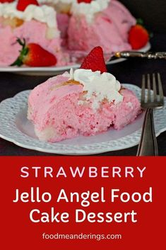 This easy no bake Strawberry Dessert is made with store bought angel food cake frozen strawberries whipped cream and jello. It's very light and refreshing so it's the perfect Easter dessert or dessert to accompany any big holiday spring or summer meal. Jello Desserts, Summer Desserts, Summer Recipes, Jello Salads, Easter Recipes, Strawberry Jello, Strawberry Desserts, Baked Strawberries, Strawberries And Cream