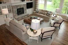 Really like this...when we get new sofas, I think we need two sofas rather than a sofa and a loveseat...Living Photos Furniture Placement Design, Pictures, Remodel, Decor and Ideas