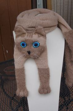 Knitting Cat Scarf Siamese Cat Scarf Animal knitting by Eastalace