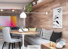 Sala de jantar canto alemão com mesa redonda painel em madeira moveis design branco e preto decoração arquitetura de interiores home living room inspiration