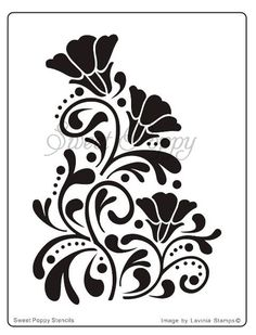 dragon stencils | Sweet Poppy Stencil: Deco Flower