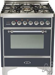 "Ilve UM76DVGGMX 30"" Traditional-Style Gas Range with 5 Open Burners, Dual Triple Flame Burner, European Convection Oven, Manual Clean, Rotis..."