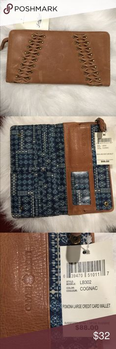 🆕 Lucky Brand Pomona Wallet - Cognac Gorgeous large boho urban Lucky Brand leather credit card wallet. Cognac color made of premium leather with a distressed look. Bifold with dual snap buttons closure - Front stud and twisted detail - Interior features large zip-around coin pocket (or large enough to fit iPhone 7 plus) 2 large wall slip pockets, 2 slip pockets, clear ID slot, and 11 card slots. Lucky Brand Bags Wallets