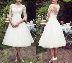 Stock Half Sleeve Tea Length Short Lace Wedding Dress Bridal Gown size 6-16