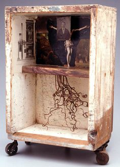 "Wood box, book illustrations, tintype photograph, vines, pencil 41 X 30 X 18cm, 16¼"" x 11½"" x 7"" James Michael Starr, 2002   outofsight.co.nz"
