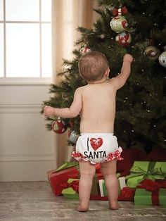 I love Santa Baby Bloomers. $15.00  www.just4kidsboutique.com