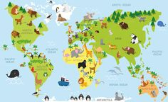 Illustration about Funny cartoon world map with traditional animals of all the continents and oceans. Vector illustration for preschool education and kids design. Illustration of animals, earth, island - 67367259 Kids Wall Decals, Removable Wall Decals, Wall Mural, Wall Art, Baby Wall, Baby Room, Wallpaper World, Map Wallpaper, Adhesive Wallpaper