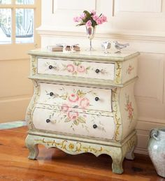 Handpainted Rose Floral Three Drawer Cabinet - Home Décor Room Accents Decorative Accents Winterthur Store