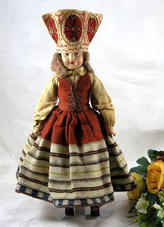 "15"" Estonian Russian Doll From Estonia Russia USSR c:1900 Composition Doll picclick.com"