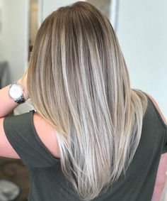 Straight Ash Blonde Balayage Hair