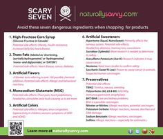 7 Scary Food Additives to Avoid #infographic. You can learn more about them from Dr. Mercola here: http://articles.mercola.com/sites/articles/archive/2013/12/30/worst-food-ingredients.aspx