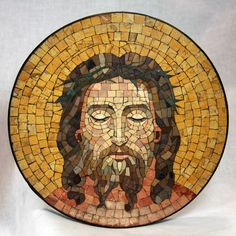 Antique Italian Jesus Mosaic Portrait